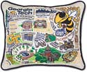 Handmade Embroidered Georgia Tech Throw Pillow
