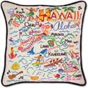Handmade Embroidered Hawaii Geography Pillow
