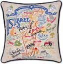 Handmade Embroidered Israel Geography Pillow