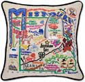 Handmade Embroidered Missouri Geography Pillow