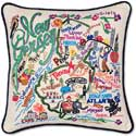 Handmade Embroidered New Jersey State Pillow