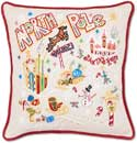 Handmade Embroidered North Pole Christmas Pillow