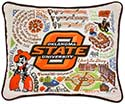 Handmade Embroidered Oklahoma State University Pillow
