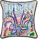 Handmade Embroidered Quebec Canada Pillow