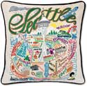 Handmade Embroidered Seattle Washington Pillow