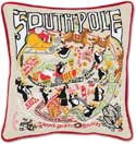Handmade Embroidered South Pole Christmas Pillow