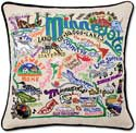 Handmade Embroidered State Minnesota Pillow