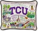 Handmade Embroidered Tcu Throw Pillow