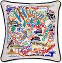 Handmade Embroidered Wisconsin Geography Pillow