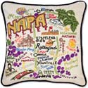 Handmade Embroidred Napa Valley Geography Pillow