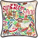 Handmade Embroidred Switzerland Geography Pillow