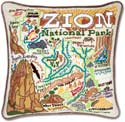 Handmade Embroidred Zion Geography Pillow