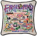 Handmade England British Embroidered Pillow