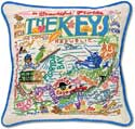Handmade Florida Keys Embroidered Pillow