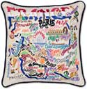 Handmade France Embroidered Geography Pillow