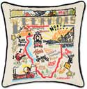 Handmade Geography Embroidered Illinois Pillow