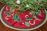 Handmade Holly Decorative Christmas Tree Skirt