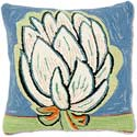 Handmade Hooked Folk Flower Pillow