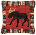 Handmade Hooked Moose Lodge Pillow