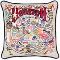 Handmade Houston Texas Embroidered Geography Pillow