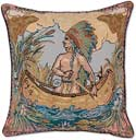 Handmade Indian Canoe Needlepoint Pillow