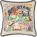 Handmade Montana Embroidered Geography Pillow
