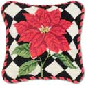 Handmade Needlepoint Christmas Poinsettia Throw Pillow