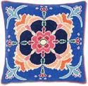 Handmade Needlepoint Retro Flower Pillow