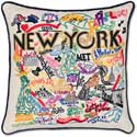 Handmade New York City Embroidered Geography Pillow