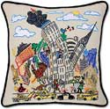 Handmade New York Manhattan Embroidered Pillow