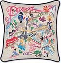 Handmade Paris France Embroidered Pillow