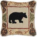 Handmade Pinecone Bear Hooked Pillow