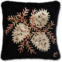 Handmade Pinecones Autumn Fall Hooked Pillow