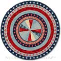 Handmade Red White Blue Hooked Rug