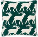 Handmade Reindeer Hooked Christmas Throw Pillow