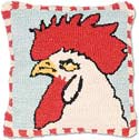 Handmade Rooster Hooked Throw Pillow