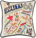 Handmade Route 66 Embroidered Pillow