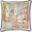 Handmade Santa Barbara Geography Pillow