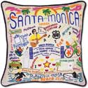 Handmade Santa Monica Embroidered Pillow