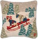 Handmade Sledding Dogs Christmas Pillow