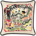 Handmade Transylvania Embroidered Halloween Pillow