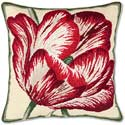 Handmade Tulip Needlepoint Flower Pillow