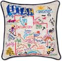 Handmade Utah Geography Embroidered Pillow