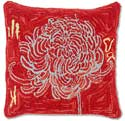 Hooked Red Flower Decorative Throw Pillow
