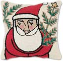 Hooked Santa Christmas Throw Pillow