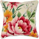 Needlepoint Spring Garden Flower Throw Pillow