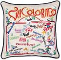 Ski Colorado Handmade Embroidered Pillow