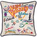 Ski Sun Valley Embroidered Pillow
