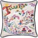 Ski Telluride Handmade Embroidered Pillow