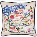Ski Vermont Handmade Geography Embroidered Pillow